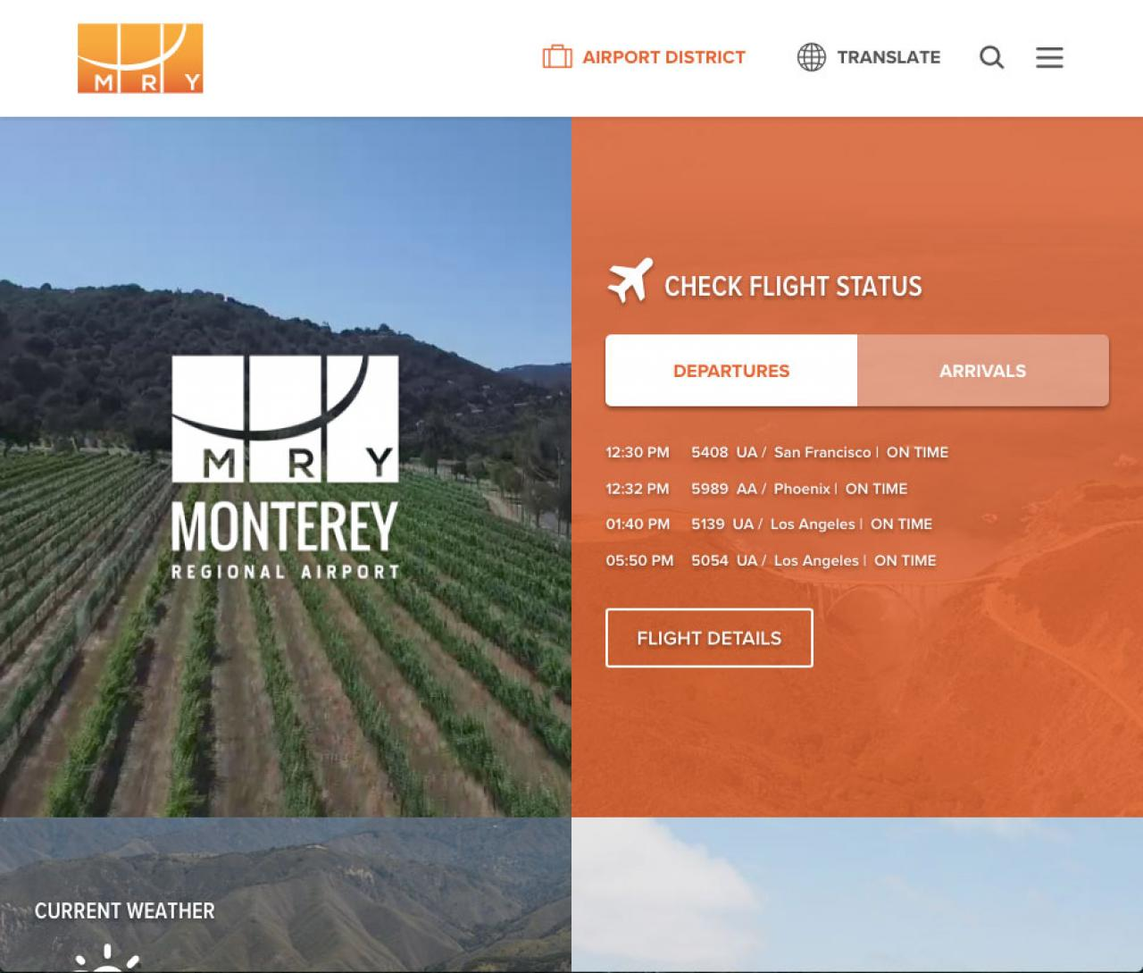 Monterey Regional Airport new web design