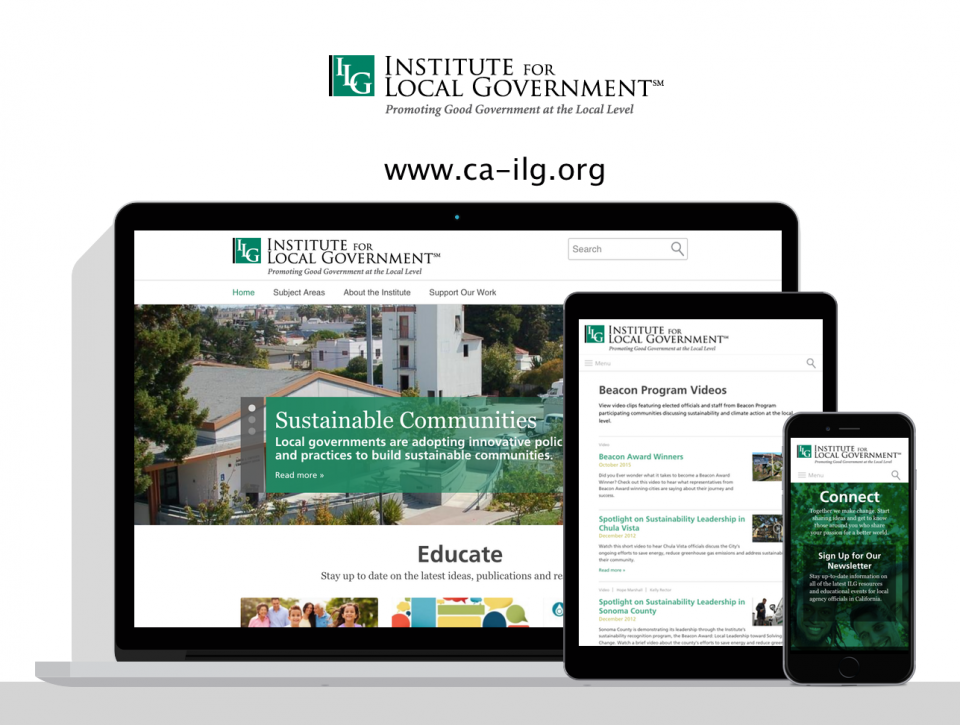 Institute for Local Government new website by government website design agency, Digital Deployment