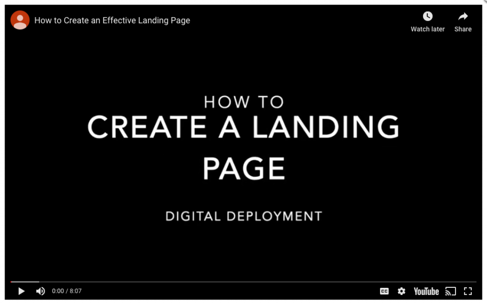 Step 1 – Create a landing page for the topic