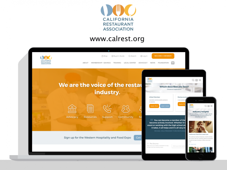 California Restaurant Association new website by Digital Deployment a web design company specializing in associations