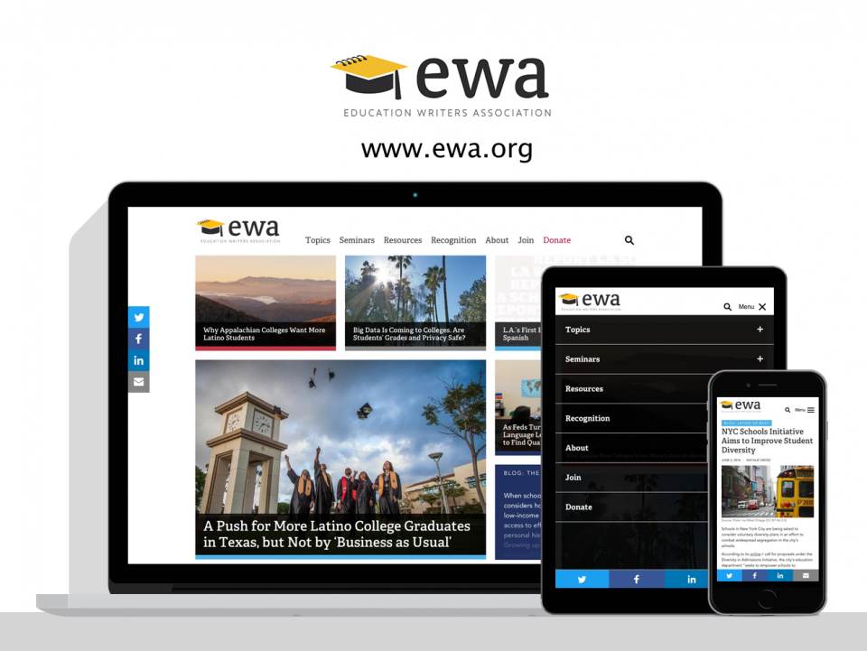 Education Writers Association web design by Digital Deployment