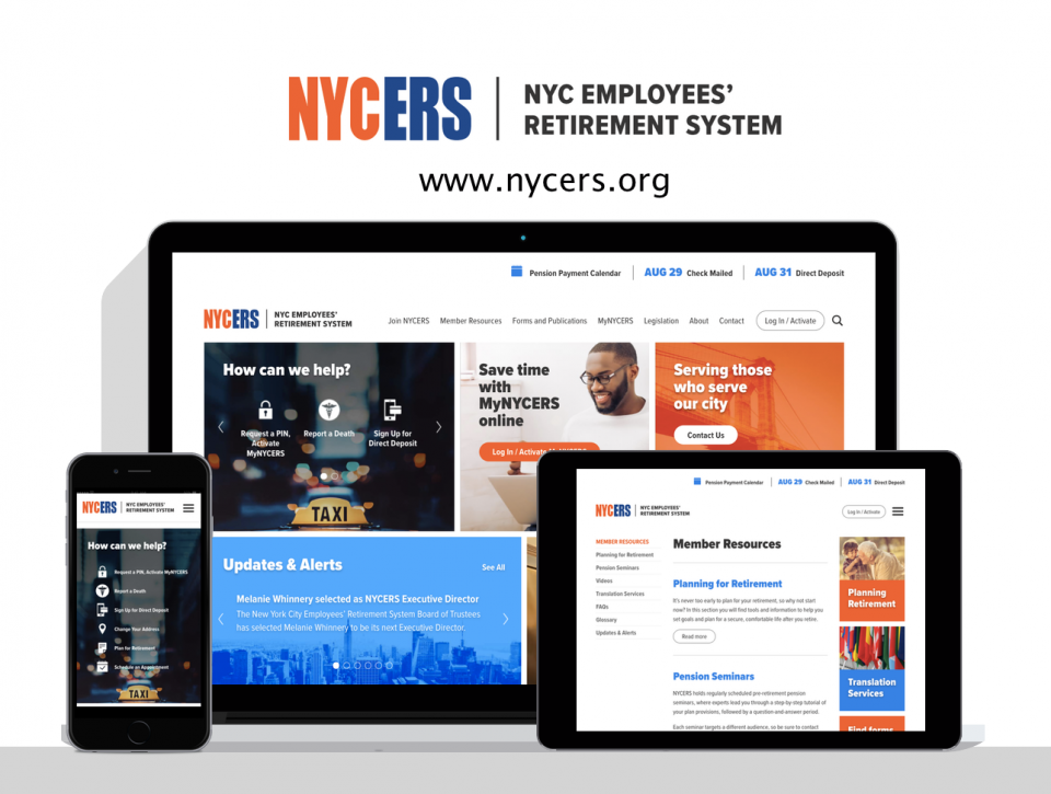 New York City Employees Retirement System new website, created by pension website design agency Digital Deployment