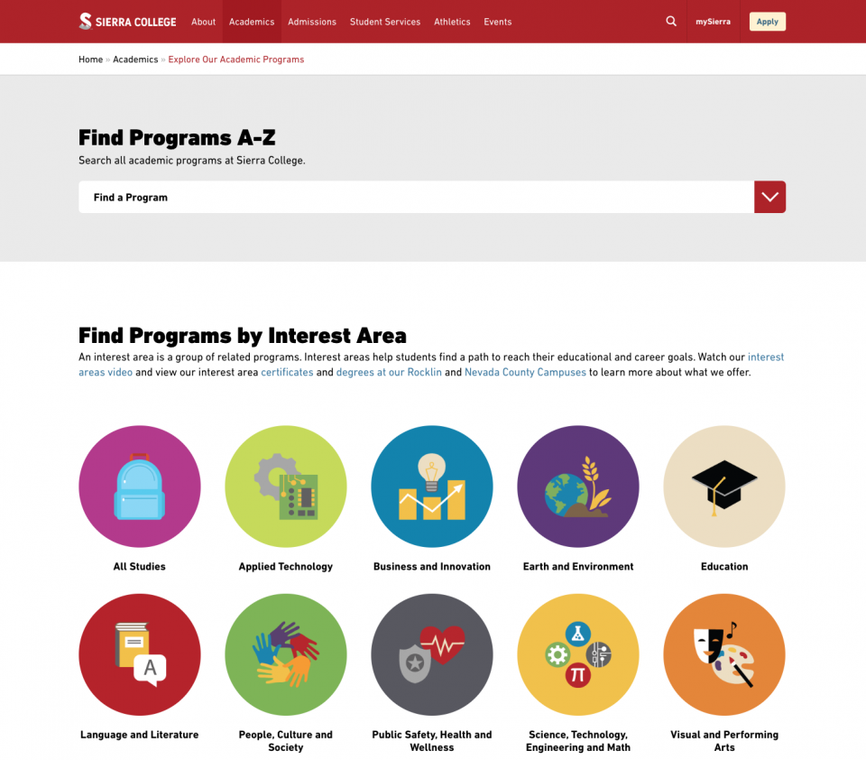 Sierra College Academic Program Finder Tool