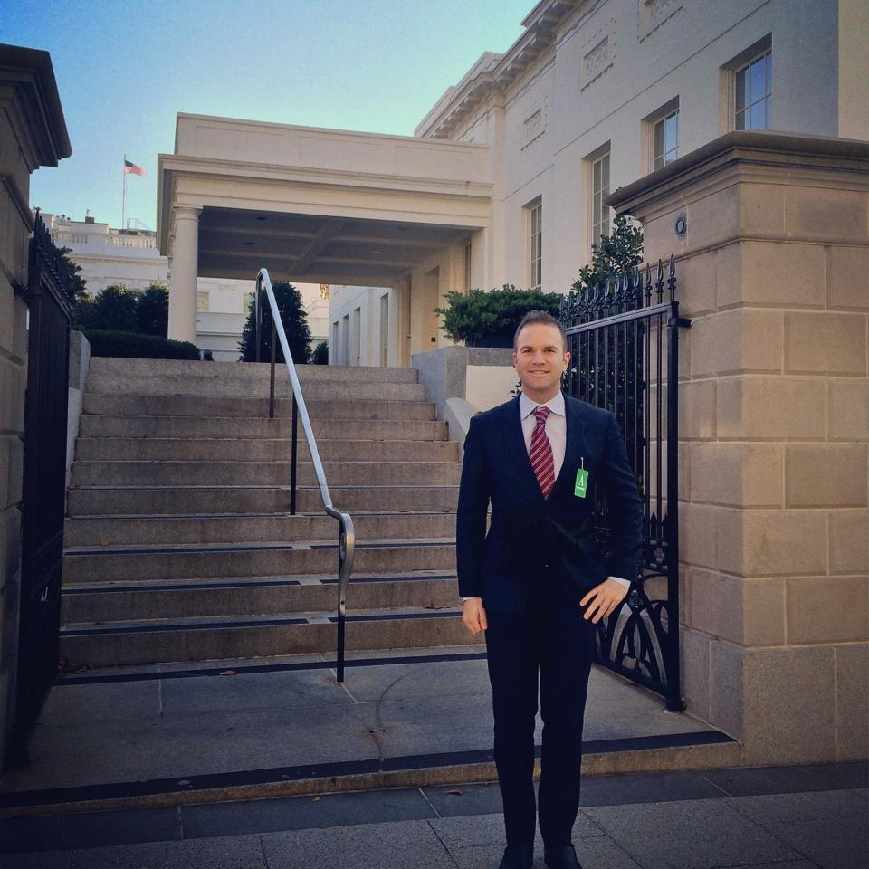 Mac Clemmens at the entrance of the West Wing of the White House in Washington, D.C.