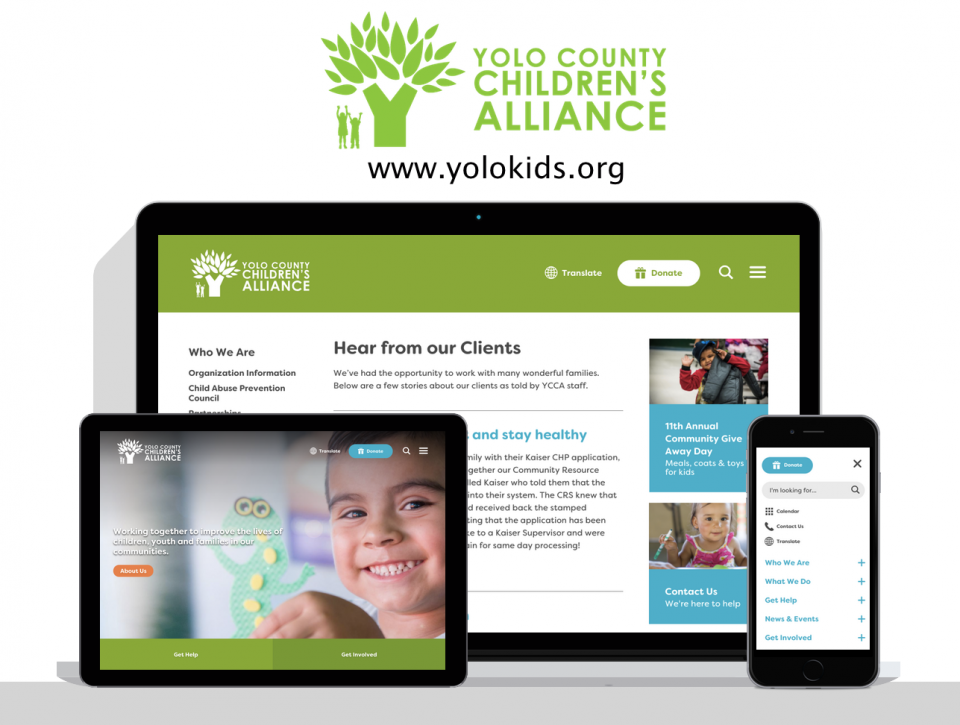 Yolo County Children's Alliance new website, created by nonprofit website design agency, Digital Deployment