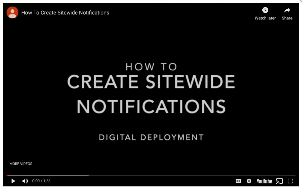 Step 2 – Highlight your content with sitewide notifications