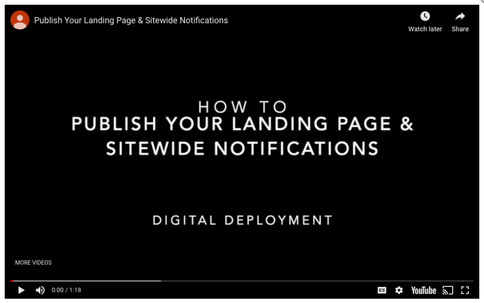 Step 3 – Publish your content and sitewide notifications